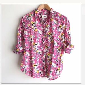 HOLDING HORSES Anthropologie Pink Floral Top